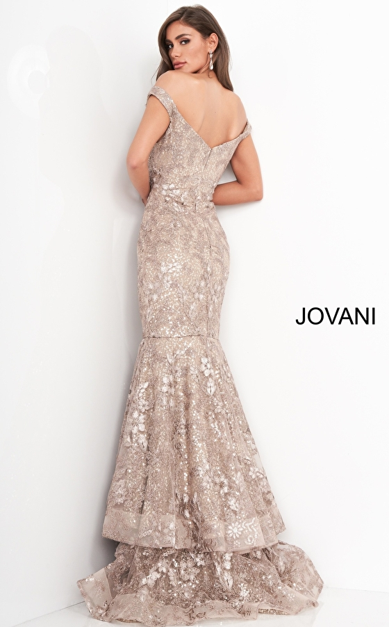 Taupe lace mother of the bride Jovani dress 03264