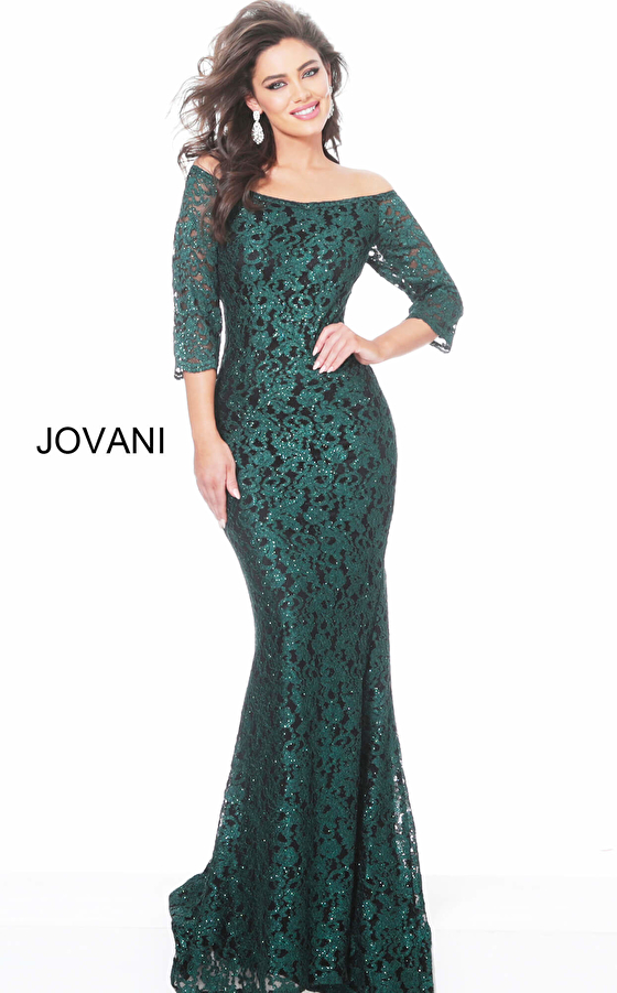 Jovani 03349 Hunter Black Boat Neckline Lace Evening Dress