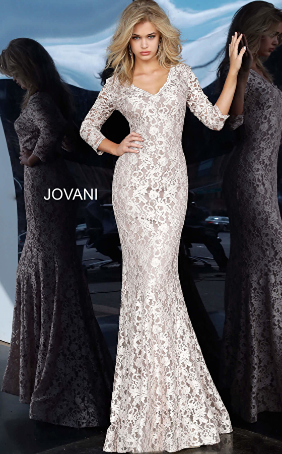 Taupe lace evening dress 03350