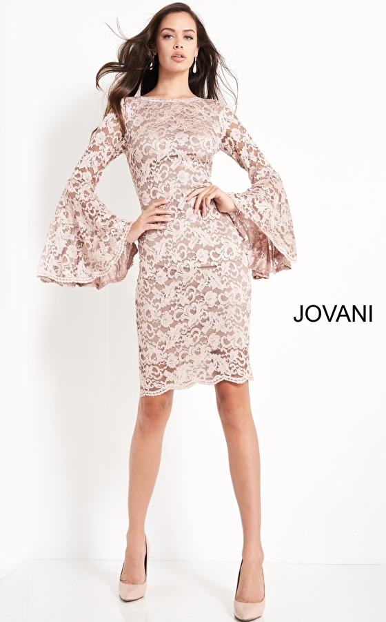 Taupe short fitted dress Jovani 03351