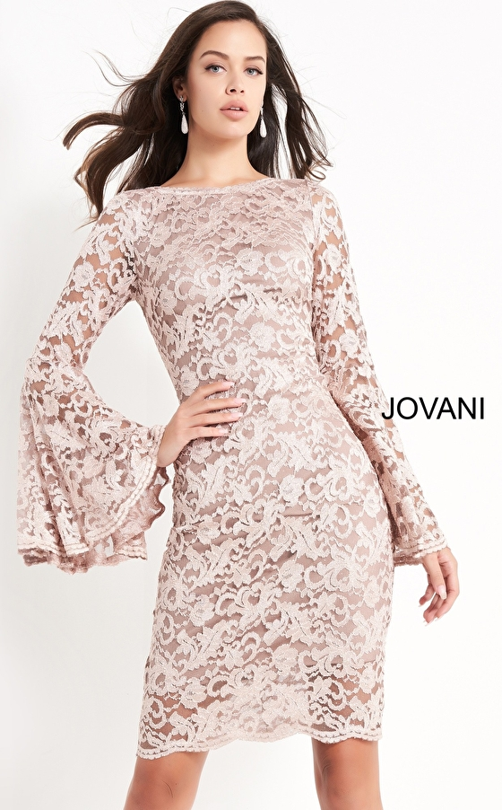 Taupe bell sleeve cocktail dress Jovani 03351