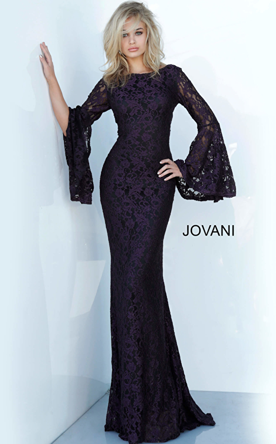 Jovani 03352 Bell Sleeve Fitted Lace Dress