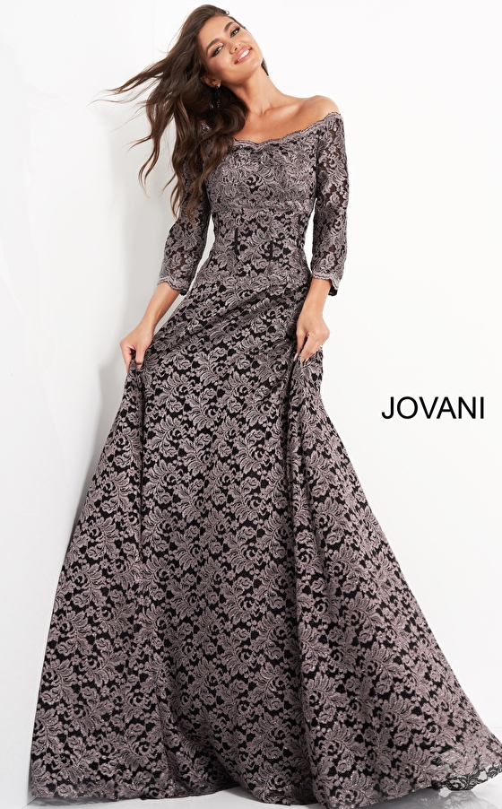 Taupe lace mother of the bride Jovani dress 03357