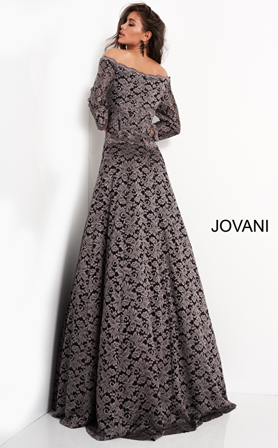 A line taupe ob and evening Jovani dress 03357