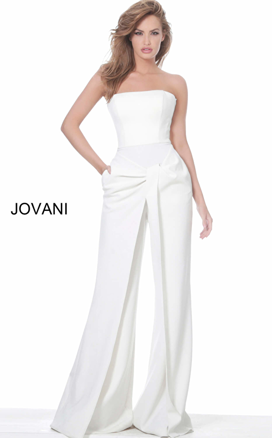 Jovani 03828 Ivory Strapless Wide Leg Evening Jumpsuit