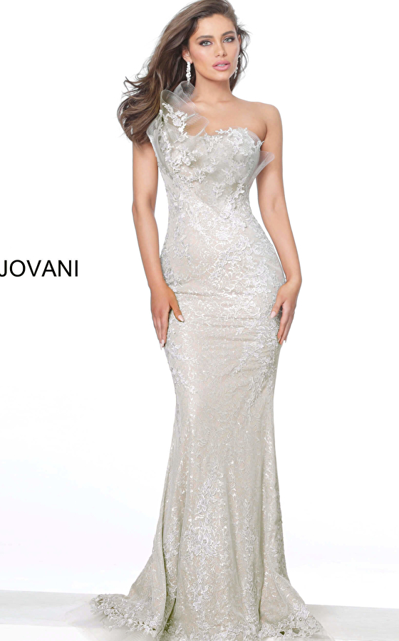 Jovani 03904 Grey One Shoulder Lace Fitted Evening Dress
