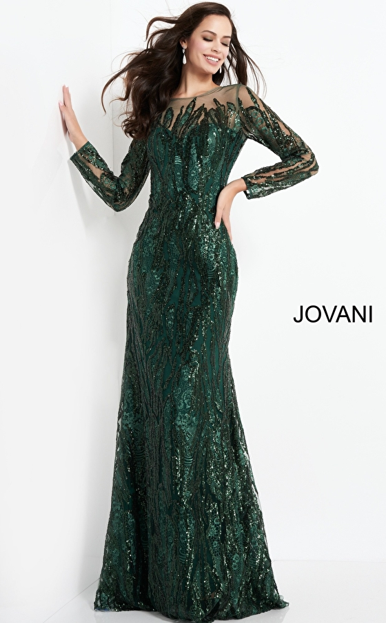 Long sleeve green mother of the bride dress 03936