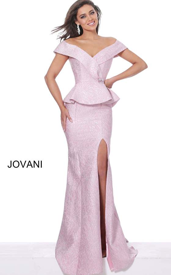 jovani Jovani 03944 Rose Off the Shoulder High Slit Mother of the Bride Dress