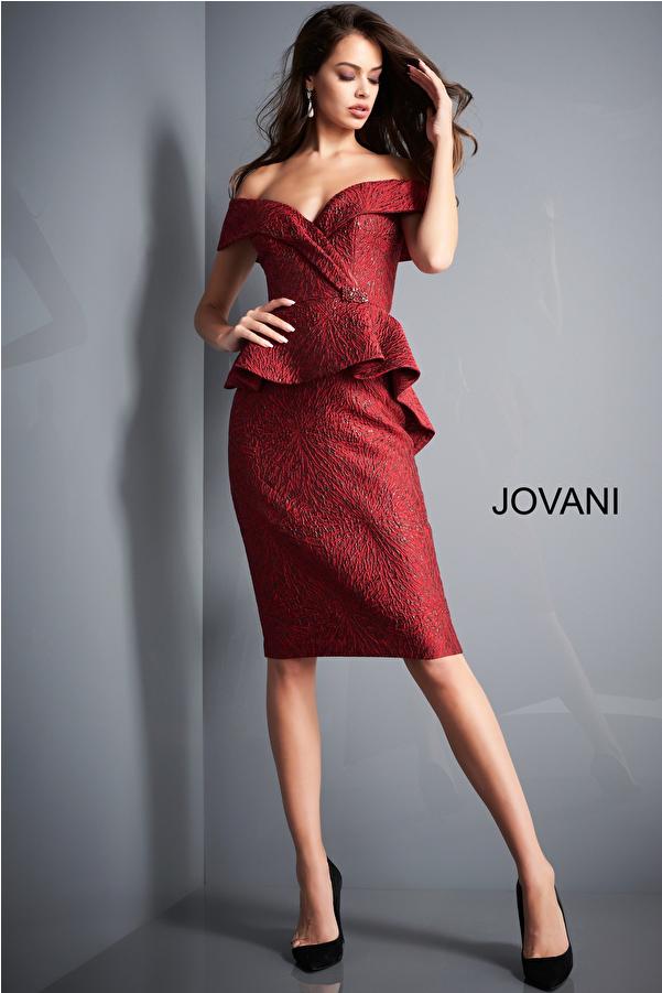 Jovani 04157 Burgundy Off the Shoulder Knee Length Evening Dress
