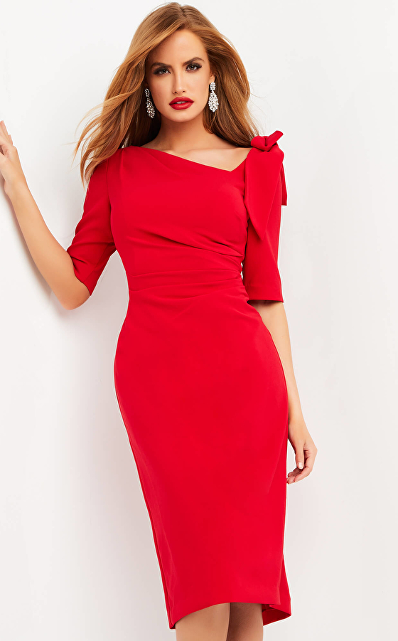 jovani Jovani 04281 Red Short Sleeve Knee Length Dress