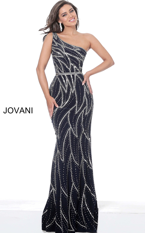 Jovani 04720 Navy One Shoulder Fitted Evening Dress