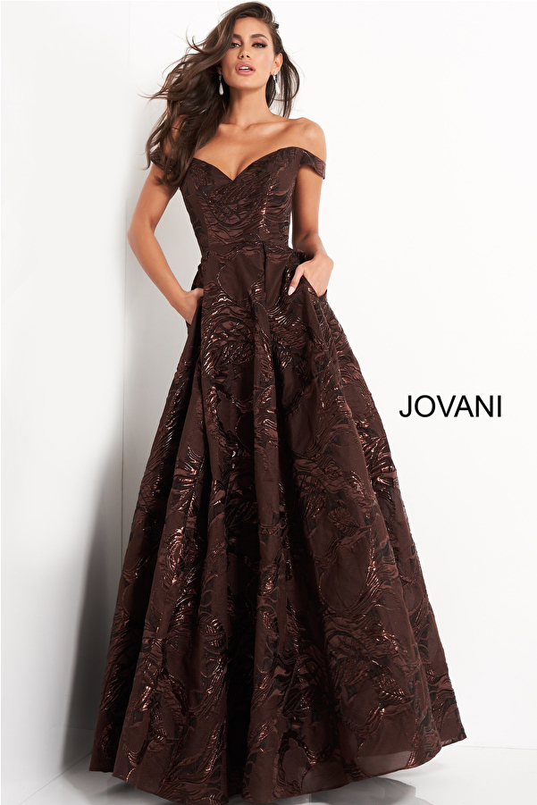 Jovani 05017 Brown Pleated A Line Evening Gown