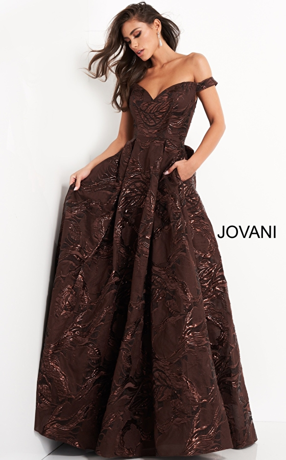 Brown sweetheart neck Jovani evening gown 05017