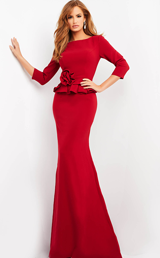 jovani Jovani 05043 Burgundy Three Quarter Sleeve Evening Dress