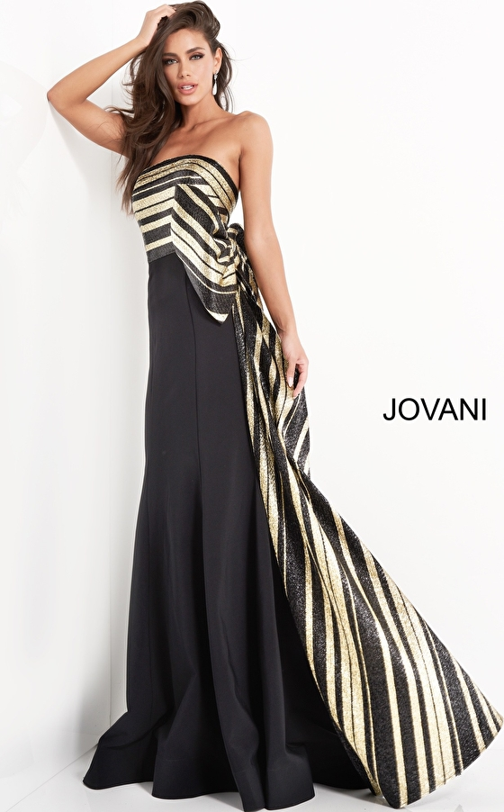 jovani Jovani 05084 Black Gold Strapless Mermaid Evening Gown