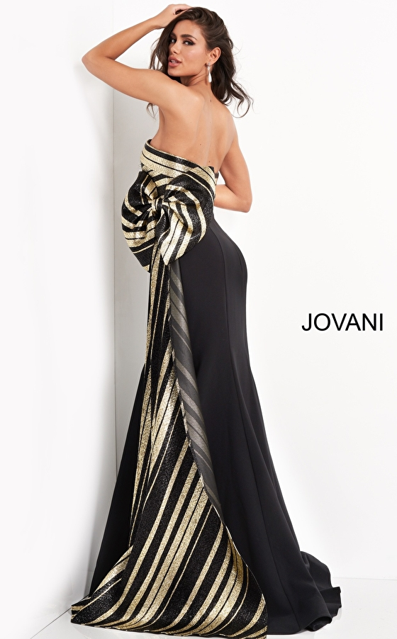 Black gold side bow evening Jovani dress 05084