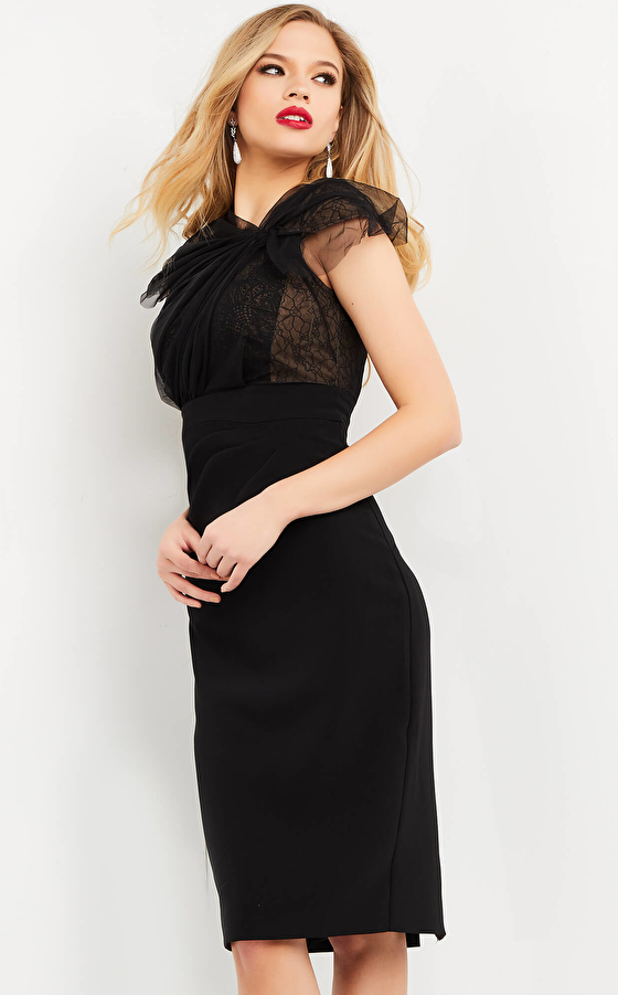 Fitted black evening cocktail dress 05674