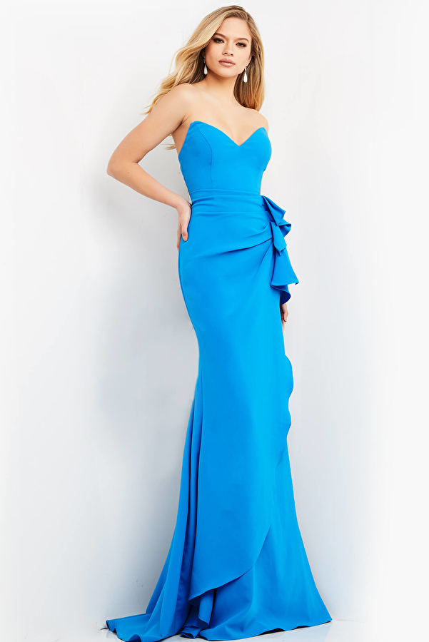 Jovani 06158 Peacock Ruched Strapless Evening Dress