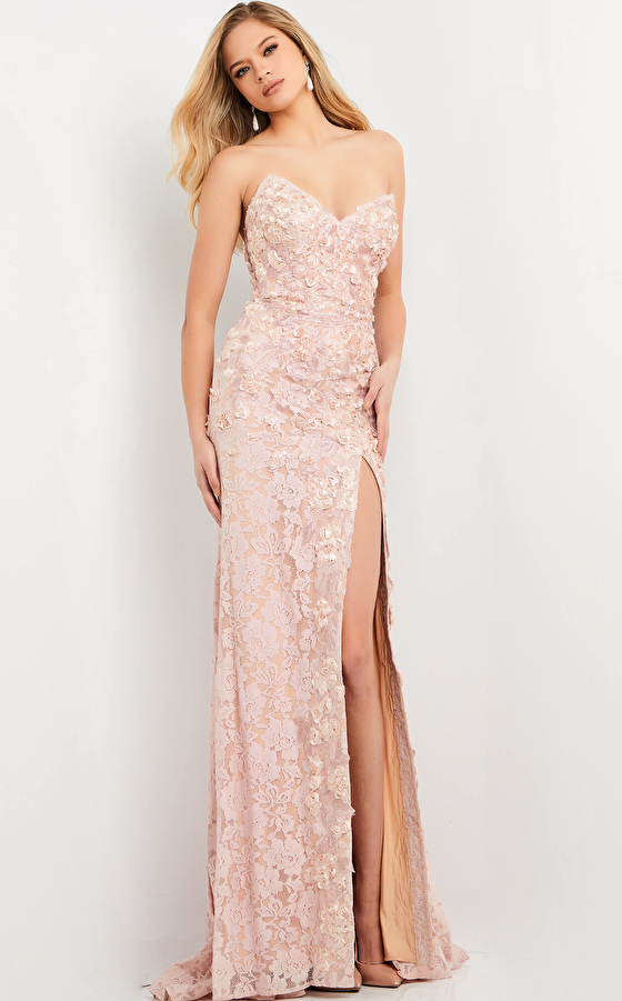 jovani Jovani 06168 Blush Floral Appliques Evening Dress