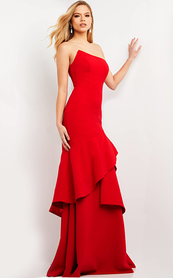 jovani Jovani 06509 Red Asymmetric Neck Crepe Evening Dress