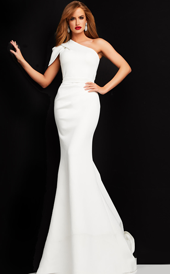 jovani Jovani 06753 White One Shoulder Ruched Evening Dress
