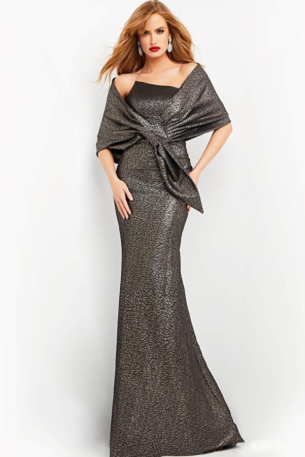 Jovani 06867 Coffee Strapless Evening Dress with Wrap