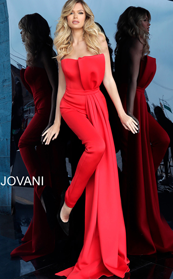 Jovani 1093 Red Strapless Bow Bodice Evening Jumpsuit