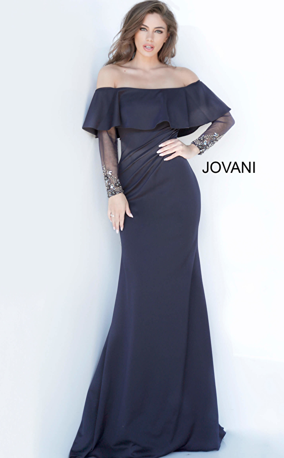Jovani 1152 Long Sleeve Fitted Evening Dress