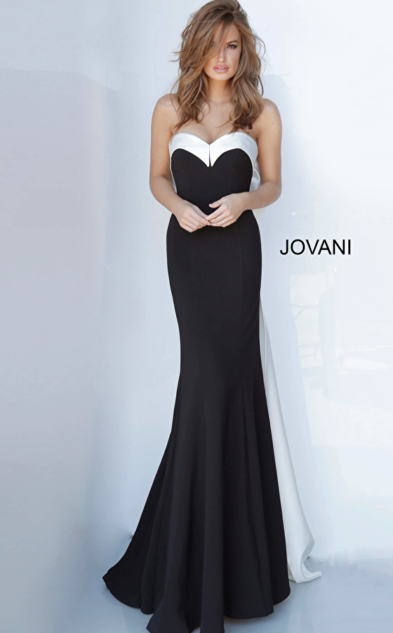 Black and white floor length fitted dress Jovani 12020