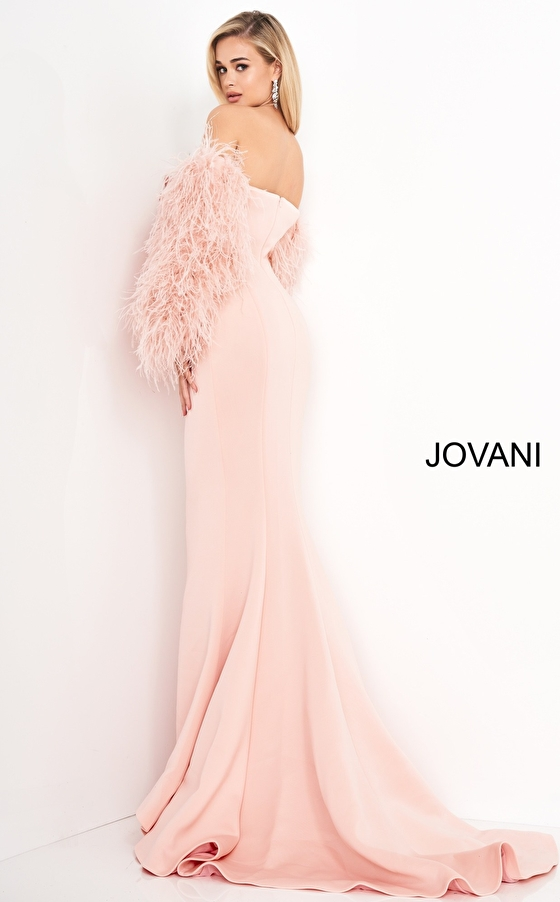 Blush Strapless Fur Sleeves Jovani Gown 1226
