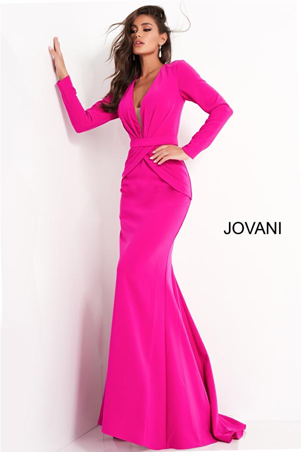 Jovani 1892 Fuchsia Plunging Neckline Evening Dress