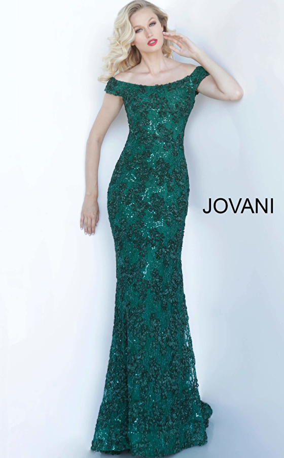 Jovani 1910 Emerald Off the Shoulder Fitted Evening Dress