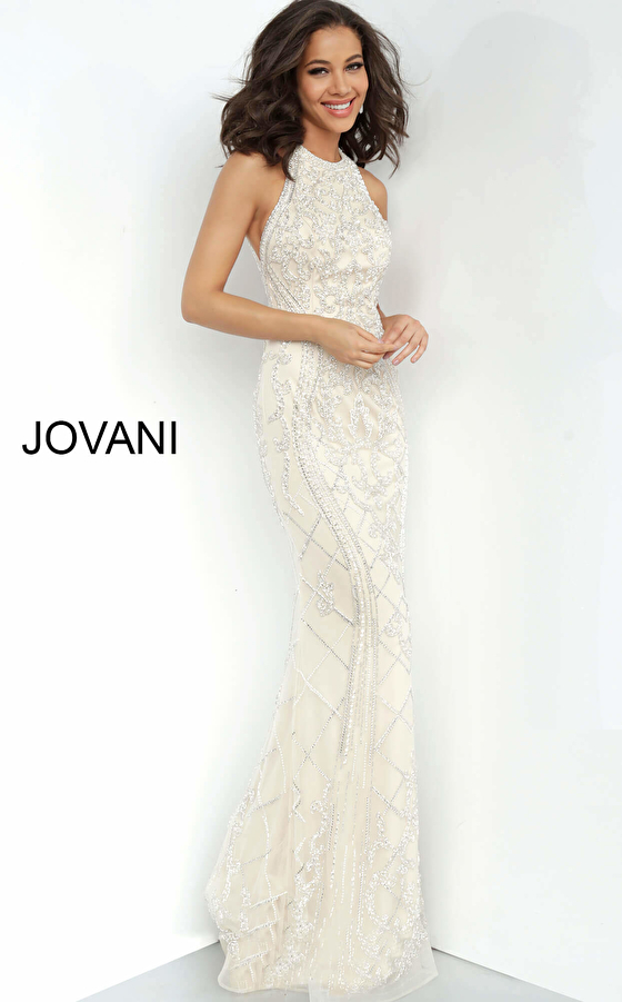 Jovani 2008 Open Back Embellished Evening Dress