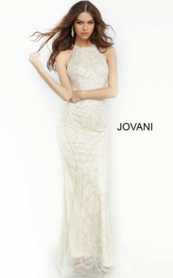 Jovani 2008 Champagne Open Back Embellished Evening Dress