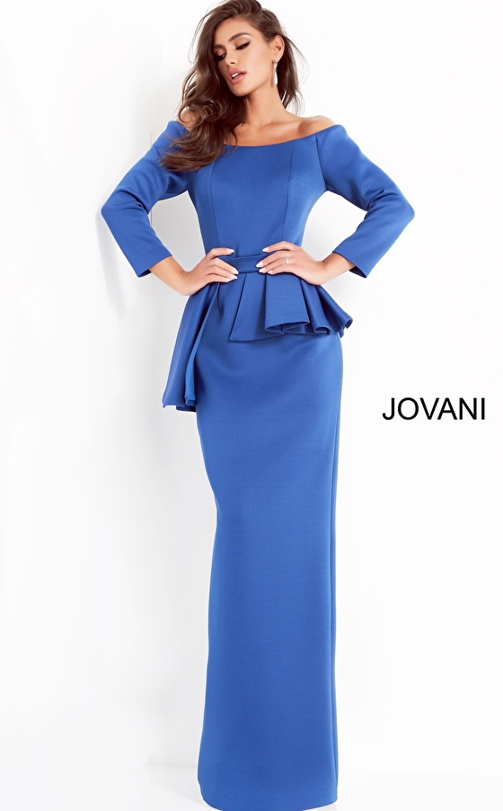 Jovani 2144 Royal Off the Shoulder Fitted Evening Dress