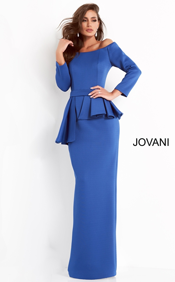 jovani Jovani 2144 Royal Off the Shoulder Fitted Evening Dress