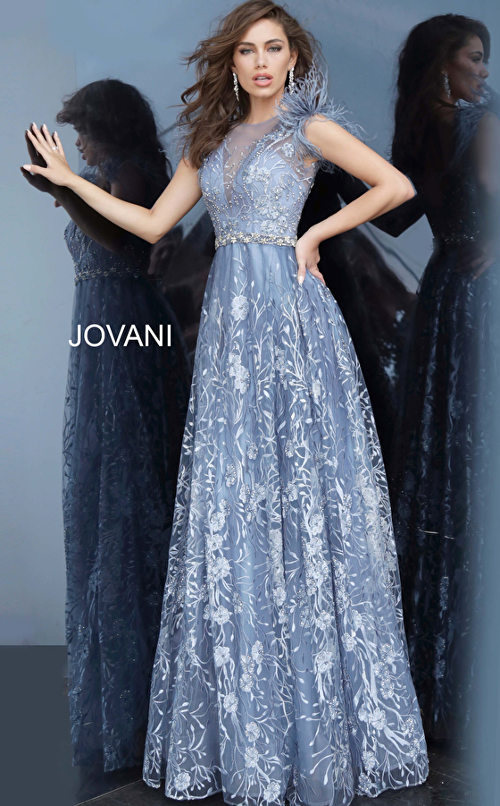 Jovani 2350 Embroidered Maxi Evening Gown