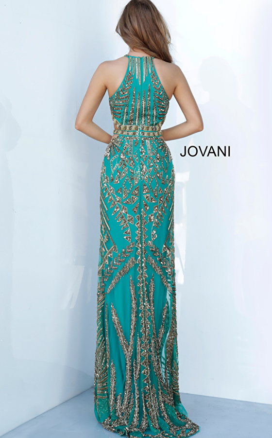 teal/gold prom gown 2720 back view
