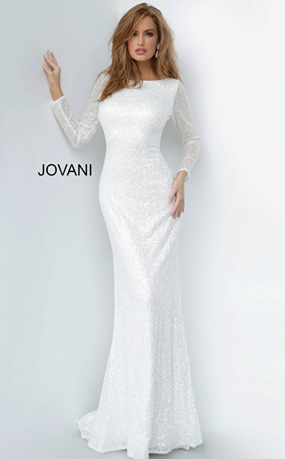 Jovani 2927 Long Sleeve Glitter Evening Dress