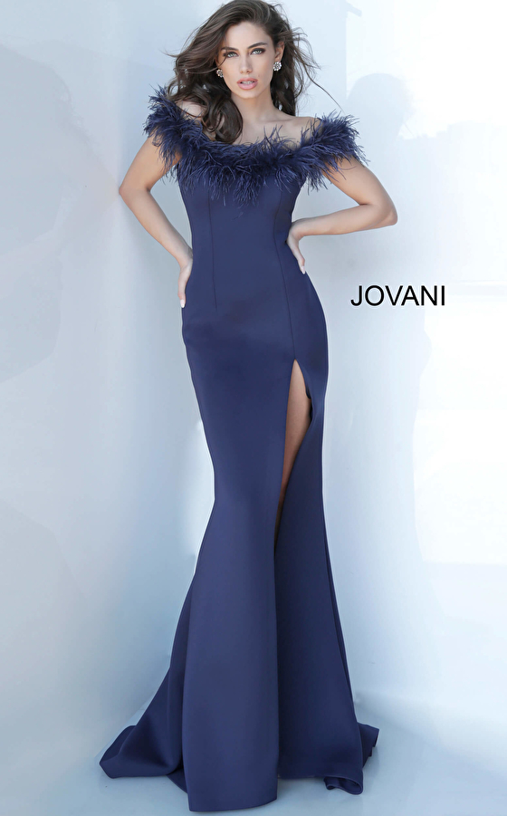 Jovani 2944 Off the Shoulder Feather Neckline Evening Gown
