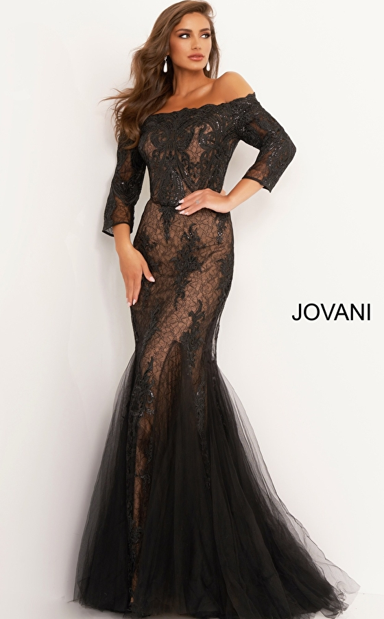 black long sleeve Jovani mother of the bride gown 3376