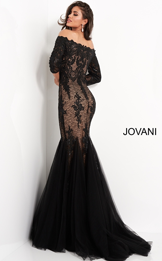 back view black nude Jovani MOB and evening dress 3376