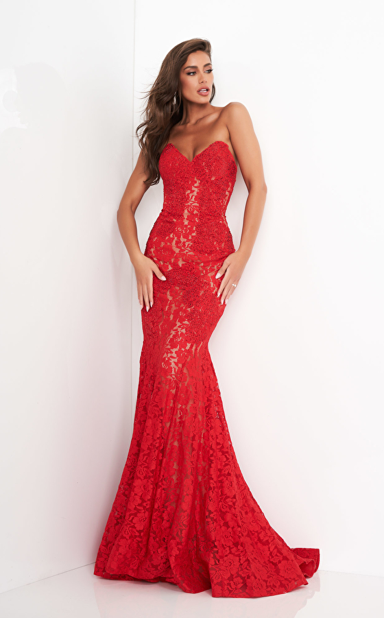 Red strapless lace dress 37334