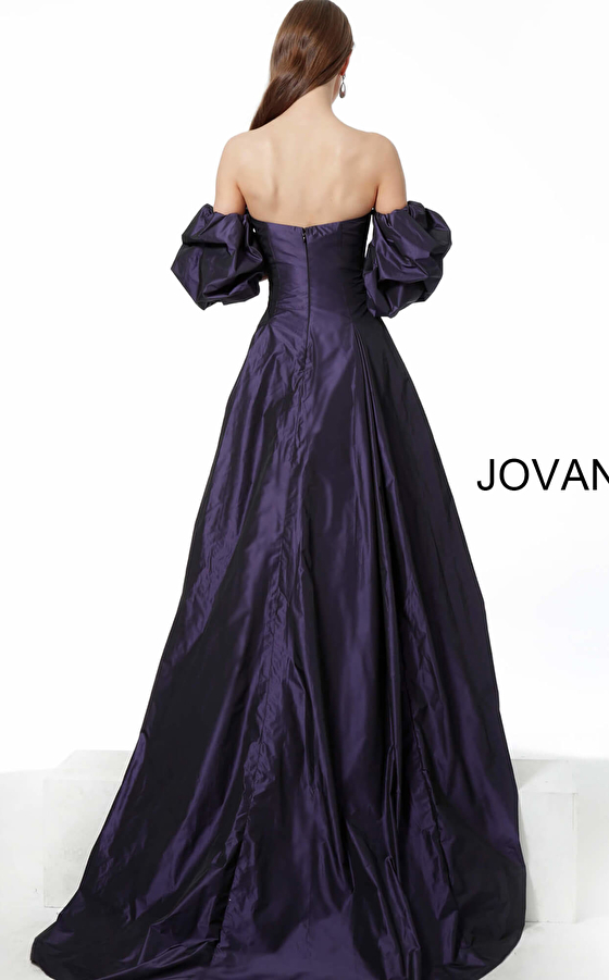 Jovani purple evening gown 3986 back view