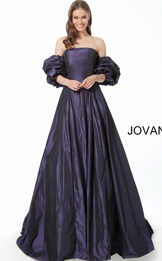 purple evening gown jovani 3986 front view