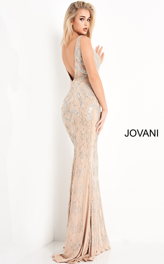Sleeveless fitted nude silver evening dress Jovani 4017