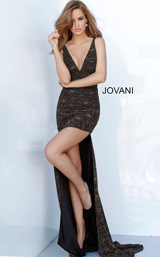 Jovani 4085 Plunging Neck Fitted Sexy Prom Dress
