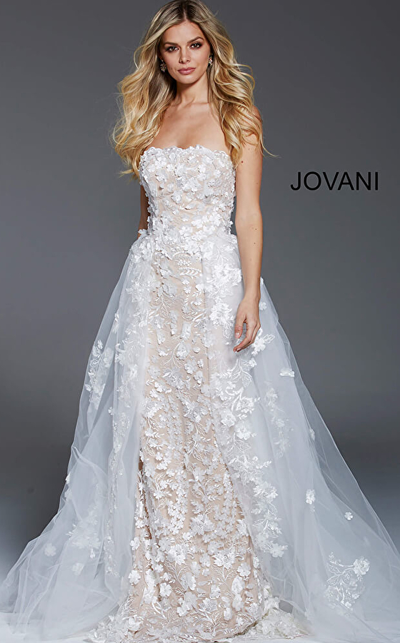 Off white nude strapless Jovani wedding gown 55616