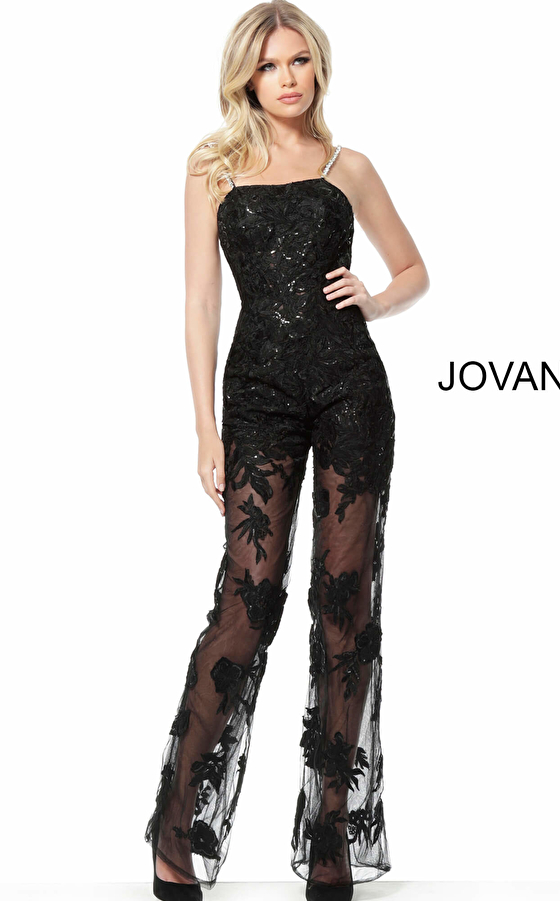 jovani Jovani 59225 Black Embellished Lace Evening Jumpsuit
