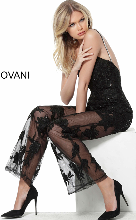Jovani black lace evening jumpsuit 59225